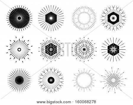 Retro Sun Burst Shapes. Vintage Logo, Labels, Badges. Vector Design Elements Isolated. Minimal Black