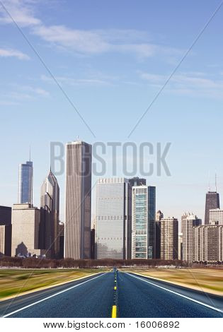 (illustration) Road With Blurred City Panorama On Horizon