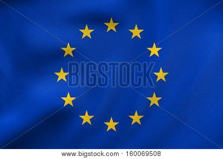 Flag Of Europe Waving, Real Fabric Texture