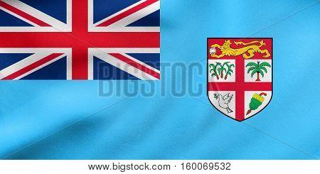 Flag Of Fiji Waving, Real Fabric Texture