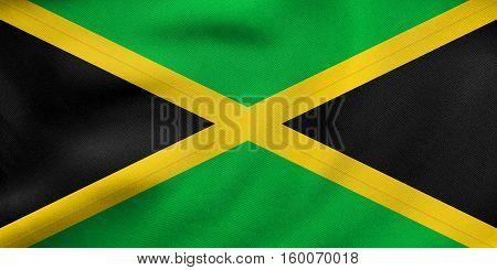 Flag Of Jamaica Waving, Real Fabric Texture
