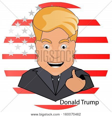 donald trump the president a smile a finger up a victory elections of 2016 against the background of the flag stylized America on a white background.