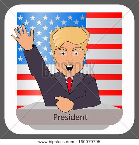 donald trump president smile hand up elections of 2016. Presidential chair. Fight success. Against the background of the American flag behind the back. Vector illustration. On white easily separated background