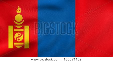 Flag Of Mongolia Waving, Real Fabric Texture