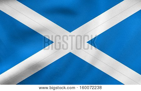 Flag Of Scotland Waving, Real Fabric Texture
