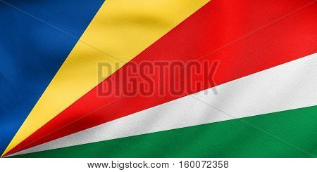 Flag Of Seychelles Waving, Real Fabric Texture