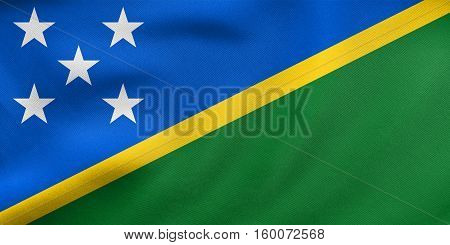 Flag Of Solomon Islands Waving Real Fabric Texture