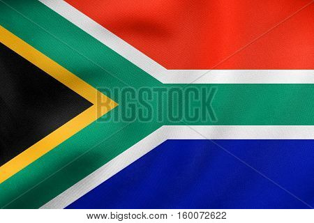 Flag Of South Africa Waving, Real Fabric Texture
