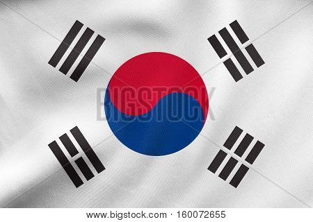 Flag Of South Korea Waving, Real Fabric Texture