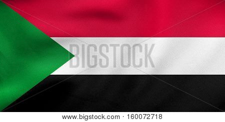 Flag Of Sudan Waving, Real Fabric Texture