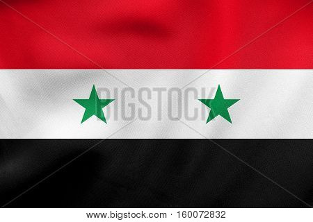 Flag Of Syria Waving, Real Fabric Texture