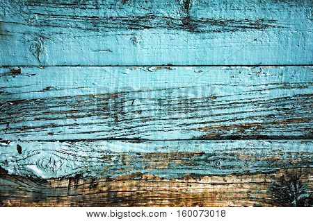 Old blue weathered distressed wood oak plank background