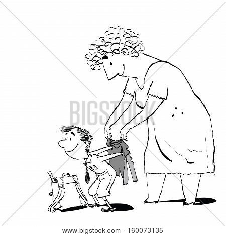 Grandma or the nanny accompanies her grandson to school. Adults and children. Morning boy. Black and white sketch drawing