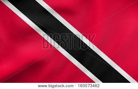 Trinidad And Tobago Flag Wavy, Real Fabric Texture