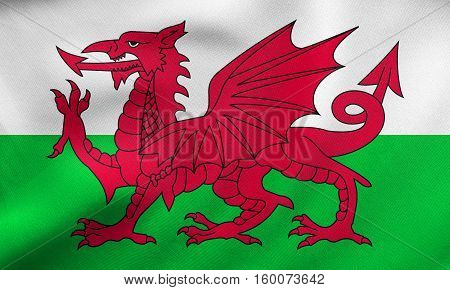 Flag Of Wales Waving, Real Fabric Texture
