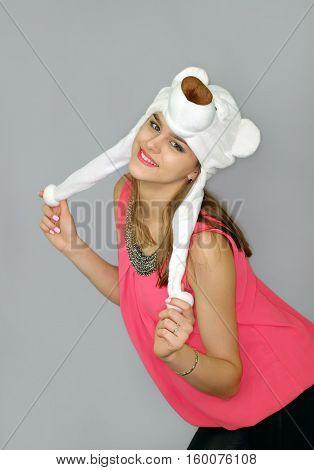 girl in the hat of a polar bear
