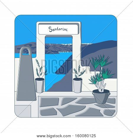 White gate in the wall and olive trees in the pots at Santorini island in Greecevector illustration