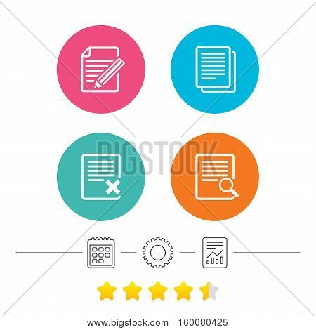 File document icons. Search or find symbol. Edit content with pencil sign. Remove or delete file. Calendar, cogwheel and report linear icons. Star vote ranking. Vector
