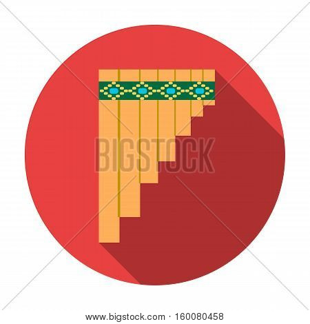 Mexican pan flute icon in flat style isolated on white background. Mexico country symbol vector illustration.
