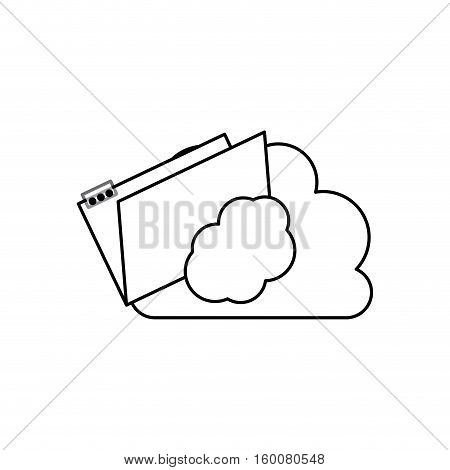 File and cloud icon. Folder document data archive and storage theme. Isolated design. Vector illustration