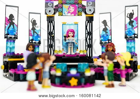 Trim, Ireland - September 8, 2016: Lego concert with female singer and musicians performing on stage to an audience.