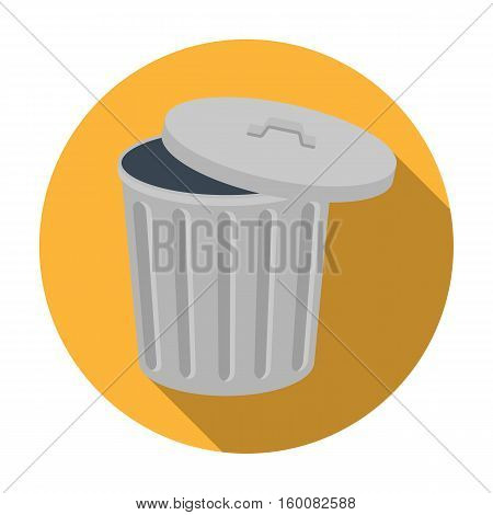 Trash can icon in flat style isolated on white background. Trash and garbage symbol vector illustration.