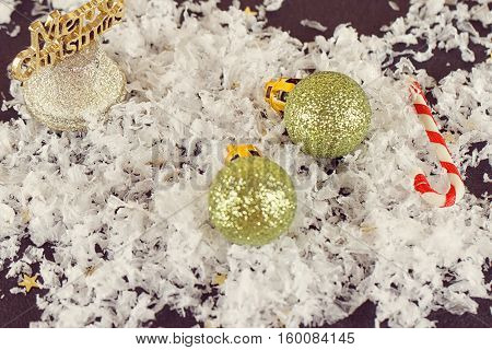 Beautiful Christmas composition with snow-mans close-up Jingle Bells. Christmas holiday toning balls