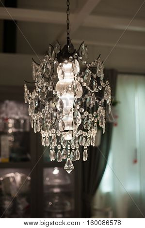 luxurious chandelier in the living room interior