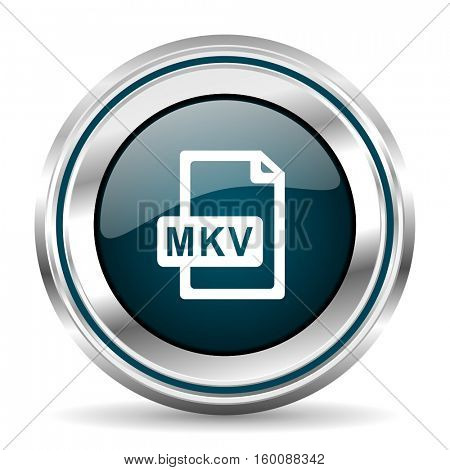 MKV vector icon. Chrome border round web button. Silver metallic pushbutton.