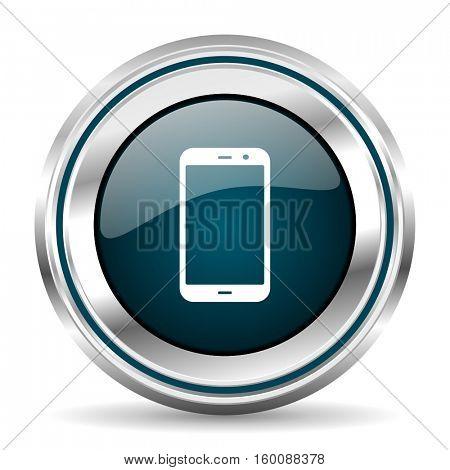 Smartphone vector icon. Chrome border round web button. Silver metallic pushbutton.