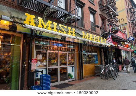 NEW YORK CITY USA - APRIL 26 2016: Exterior of an Amish market in Manhattan. The Amish are committed to a simple life where one is almost completely self-sufficient with regard to food and everyday necessities