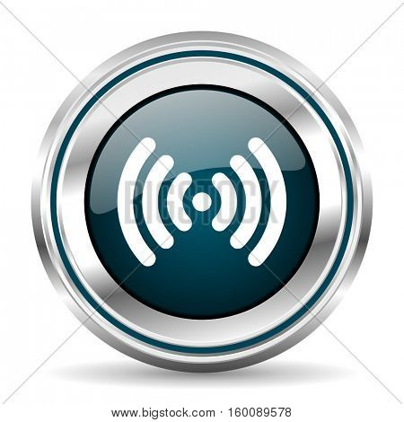 Wi fi vector icon. Chrome border round web button. Silver metallic pushbutton.