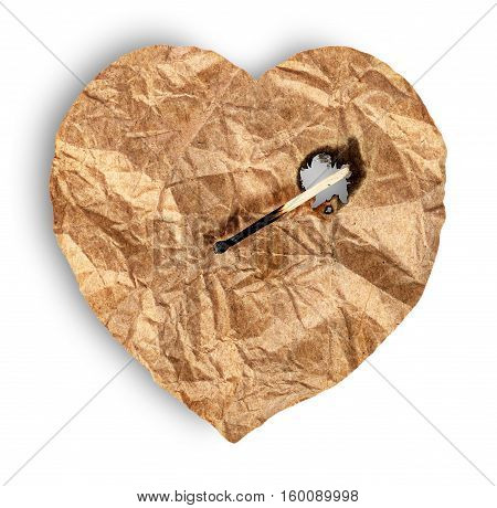 Crumpled paper heart burns match isolated on white background
