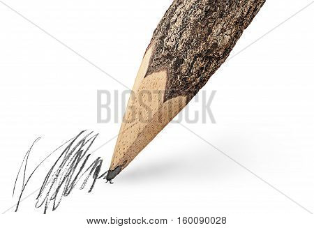 Writing unusual pencil in the form of logs isolated on white background