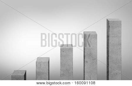 Concrete gray bars different size standing in ascending order Charts and statistics. Construction site. Enterprise analytics. Collage for business