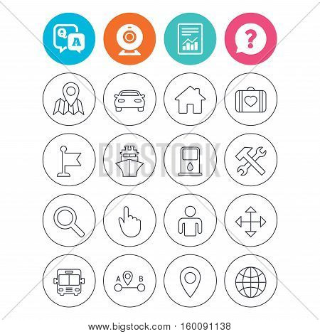 GPS navigation icons. Car, Bus and Ship transport. You are here, map pointer symbols. Search gas or petrol stations, hotels. A to B distance. Report document, question and answer icons. Vector