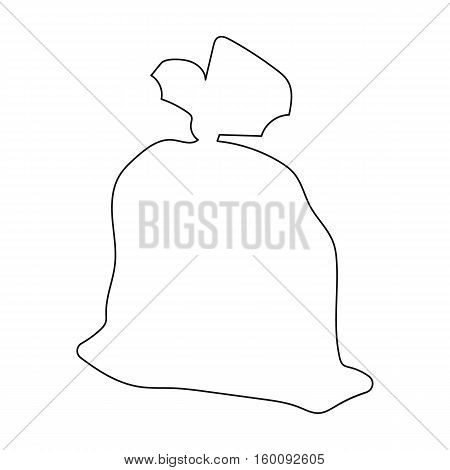 Garbage bag icon in outline style isolated on white background. Trash and garbage symbol vector illustration.