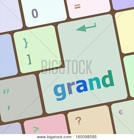 Computer keyboard button with grand button on it