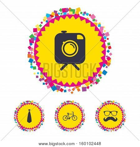 Web buttons with confetti pieces. Hipster photo camera with mustache icon. Glasses and tie symbols. Bicycle family vehicle sign. Bright stylish design. Vector