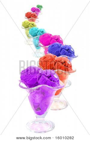 color ice cream cones snake over white background