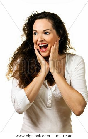 Beautiful Young Happy Woman Looking Surprised