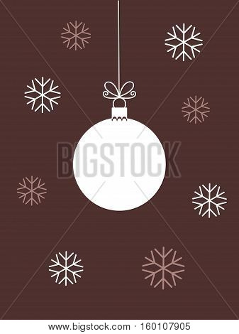 Christmas ball white ornament and snowflakes illustration