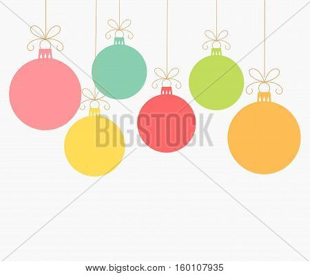 Christmas colorful balls ornaments card illustration background