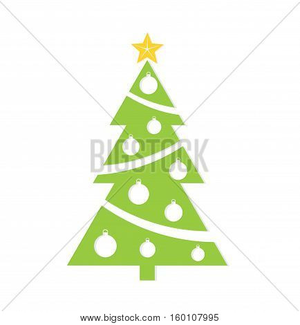 Green decorated Christmas tree illustration isolated on white