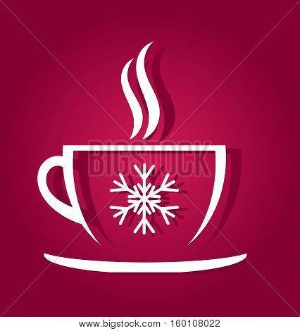 Christmas coffee cup shape on purple background illustration