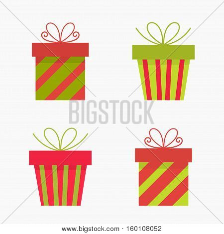 Christmas presents flat design red icons illustration