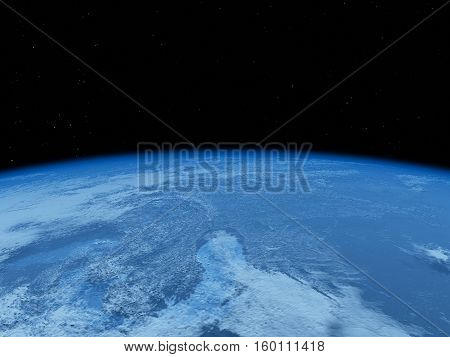 earth planet view from space 3d rendering