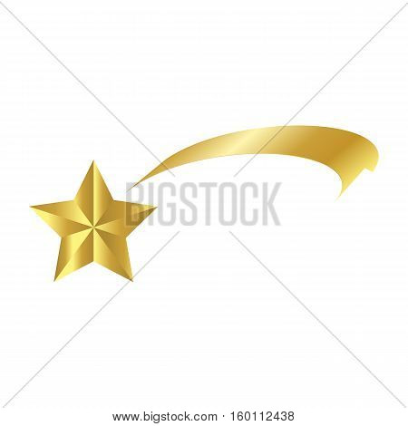 Christmas  Ribbon Shooting Star Icon Symbol Design. Vector Shooting Comet  Illustration Isolated On