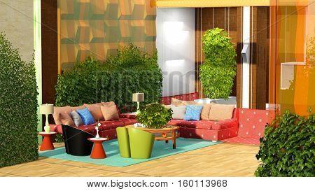 Cozy room 3d rendering