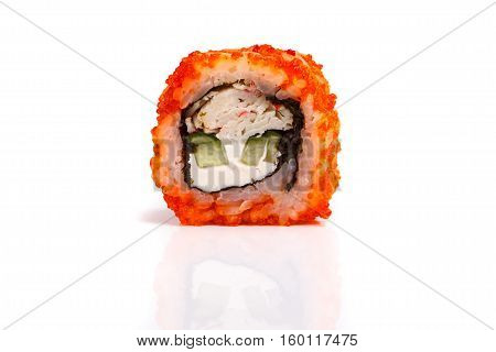 Japanese Roll Rice, Nori, Lettuce, Cheese, Crab, Tobiko Caviar Close-up On White Background.